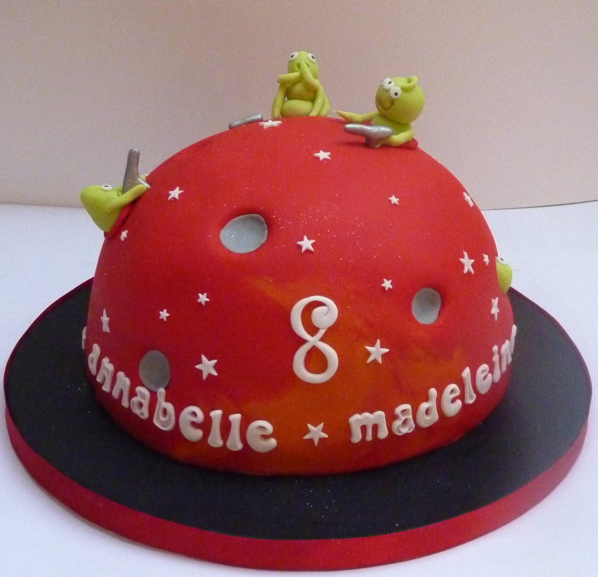 Aliens on Mars Birthday Cake