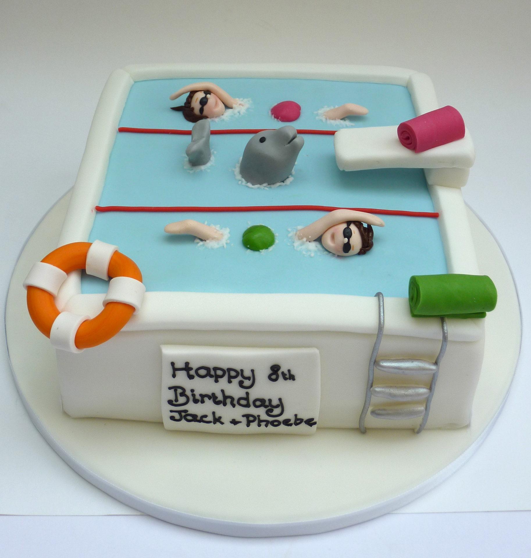 Astonishing Swimming Pool Birthday Cake Etoile Bakery Personalised Birthday Cards Vishlily Jamesorg