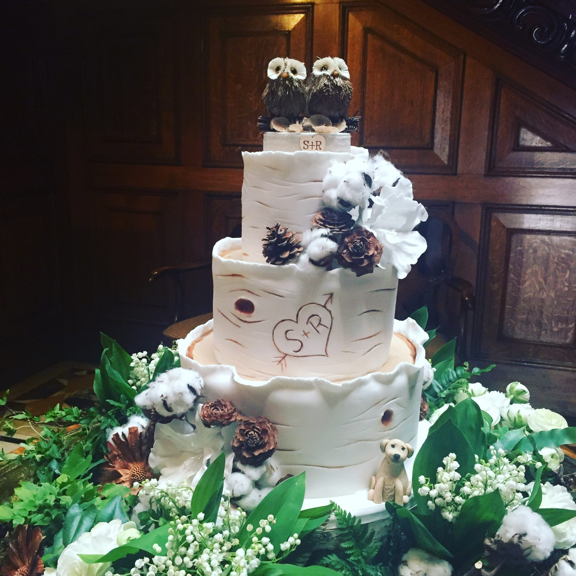 Silver Birch Wedding Cake with Owls