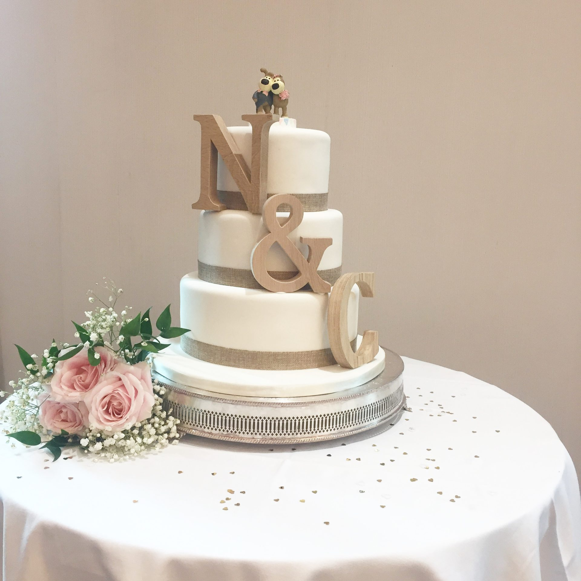 Rustic Letter Wedding Cake
