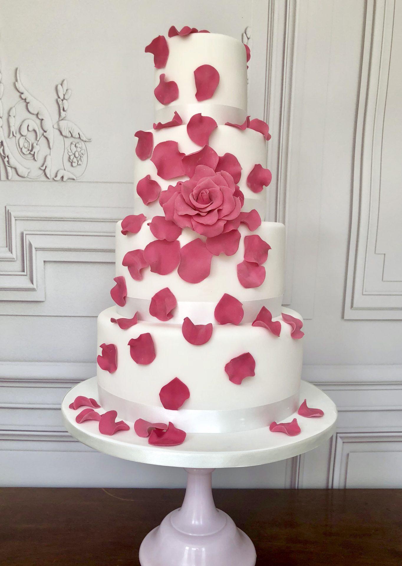 Tumbling Rose Wedding Cake