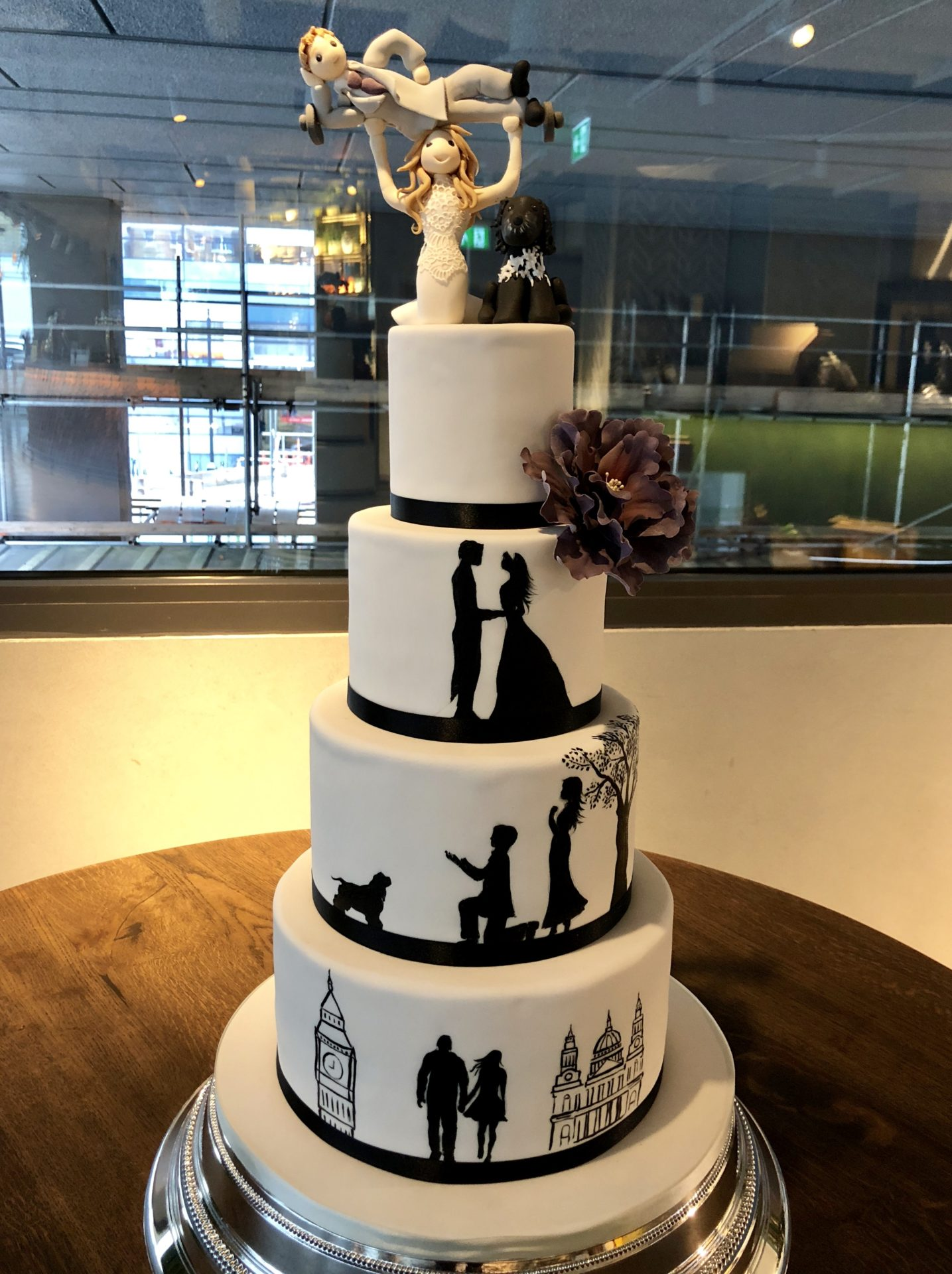 Hand Painted Wedding Cake with Sugar Figures