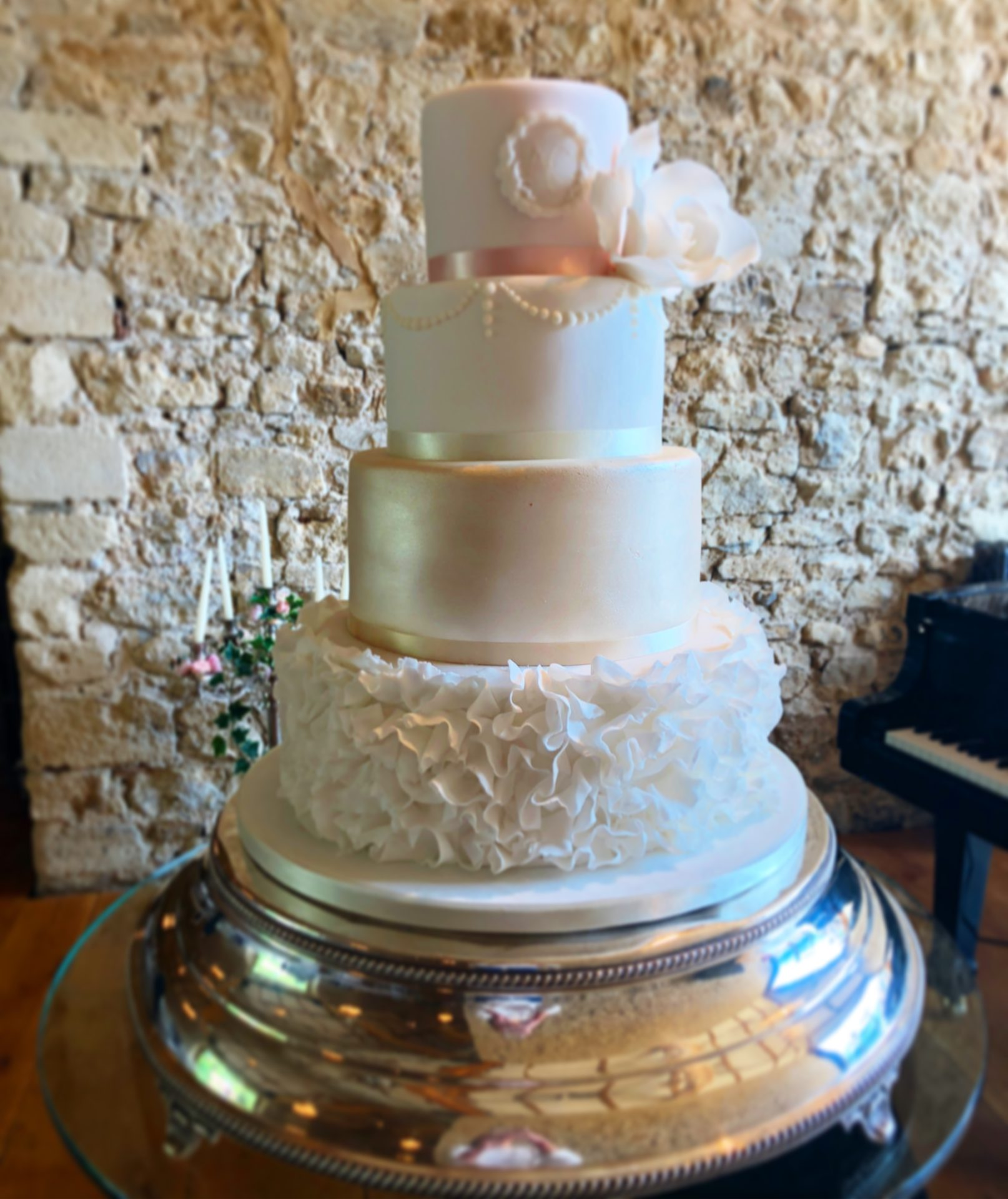 Champagne and Blush Ruffle Wedding Cake