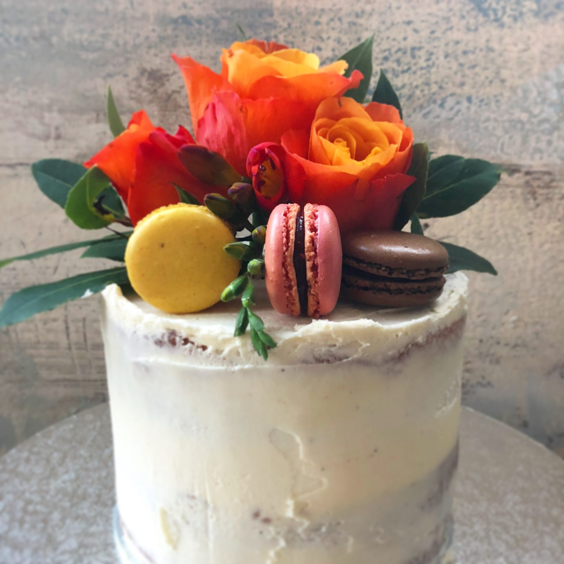 Semi Naked Cake and Macarons