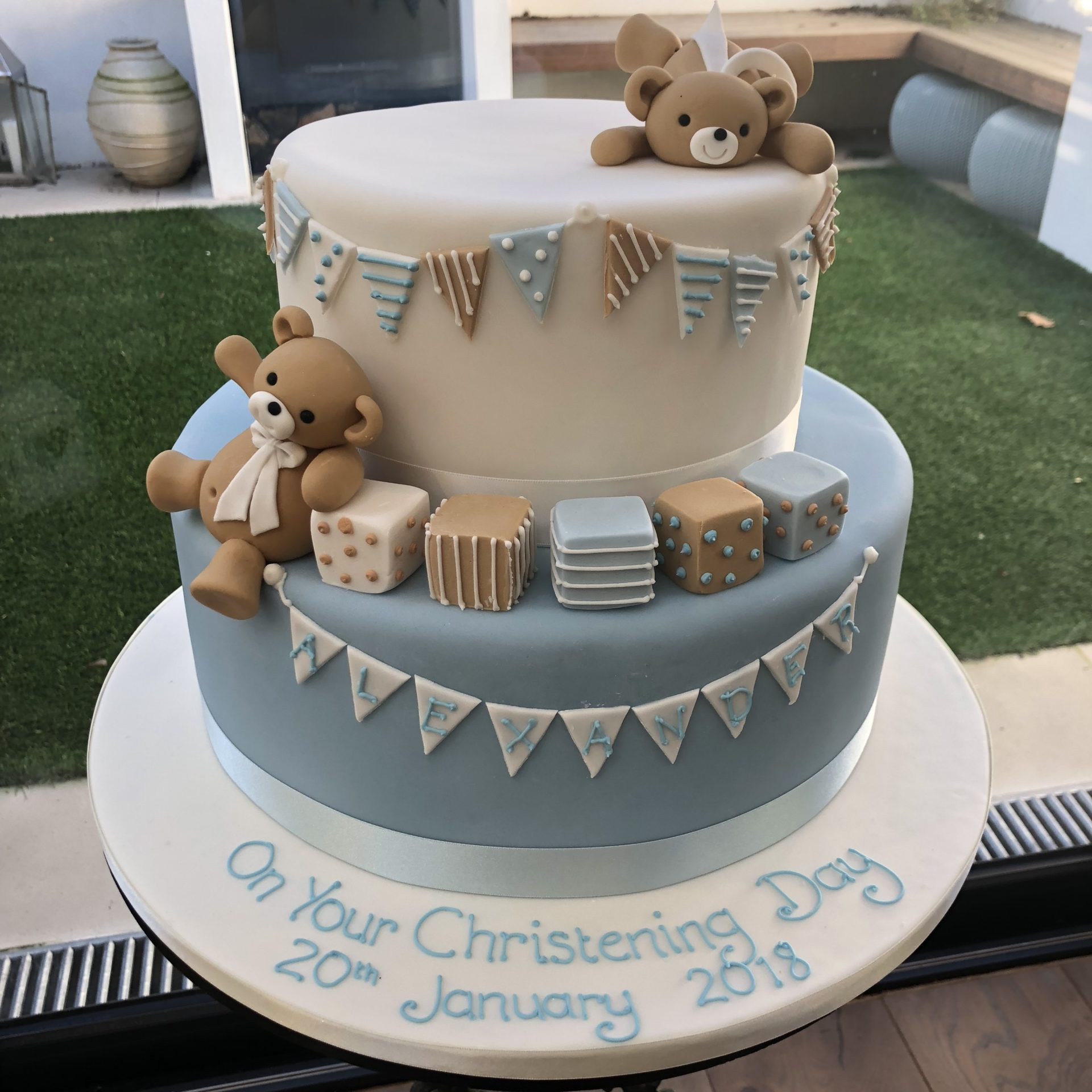 Partying Teddy Bear Christening Cake
