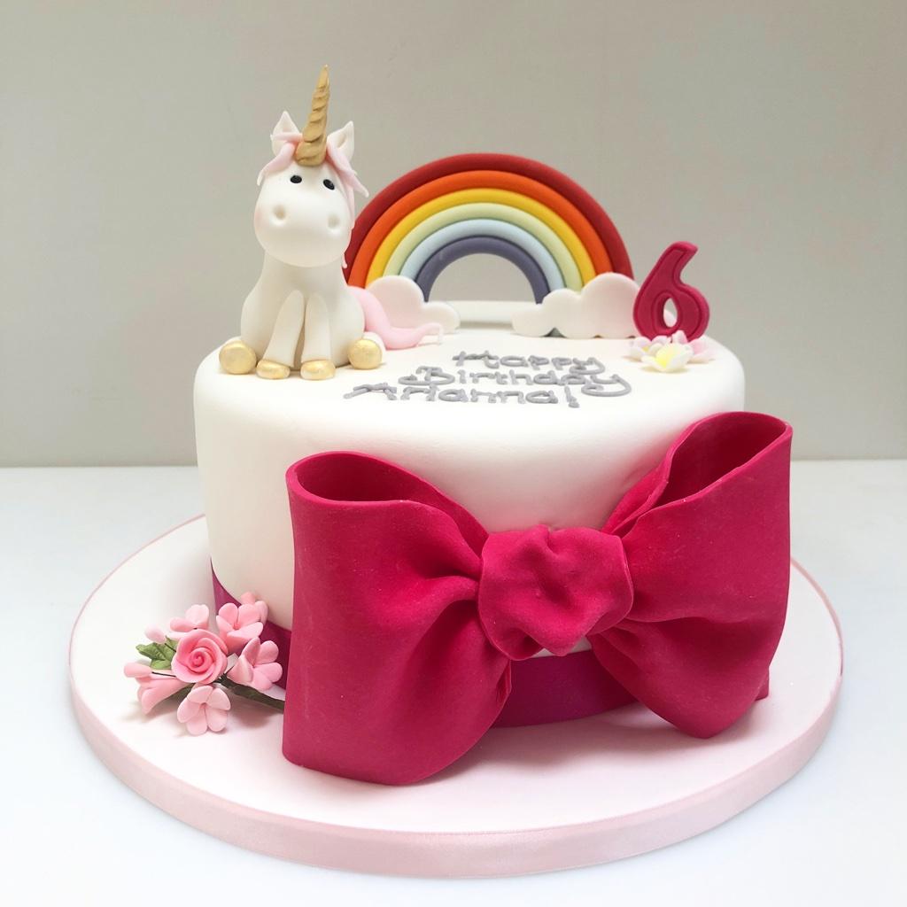Astonishing Rainbow Unicorn And Giant Bow Cake Etoile Bakery Personalised Birthday Cards Epsylily Jamesorg