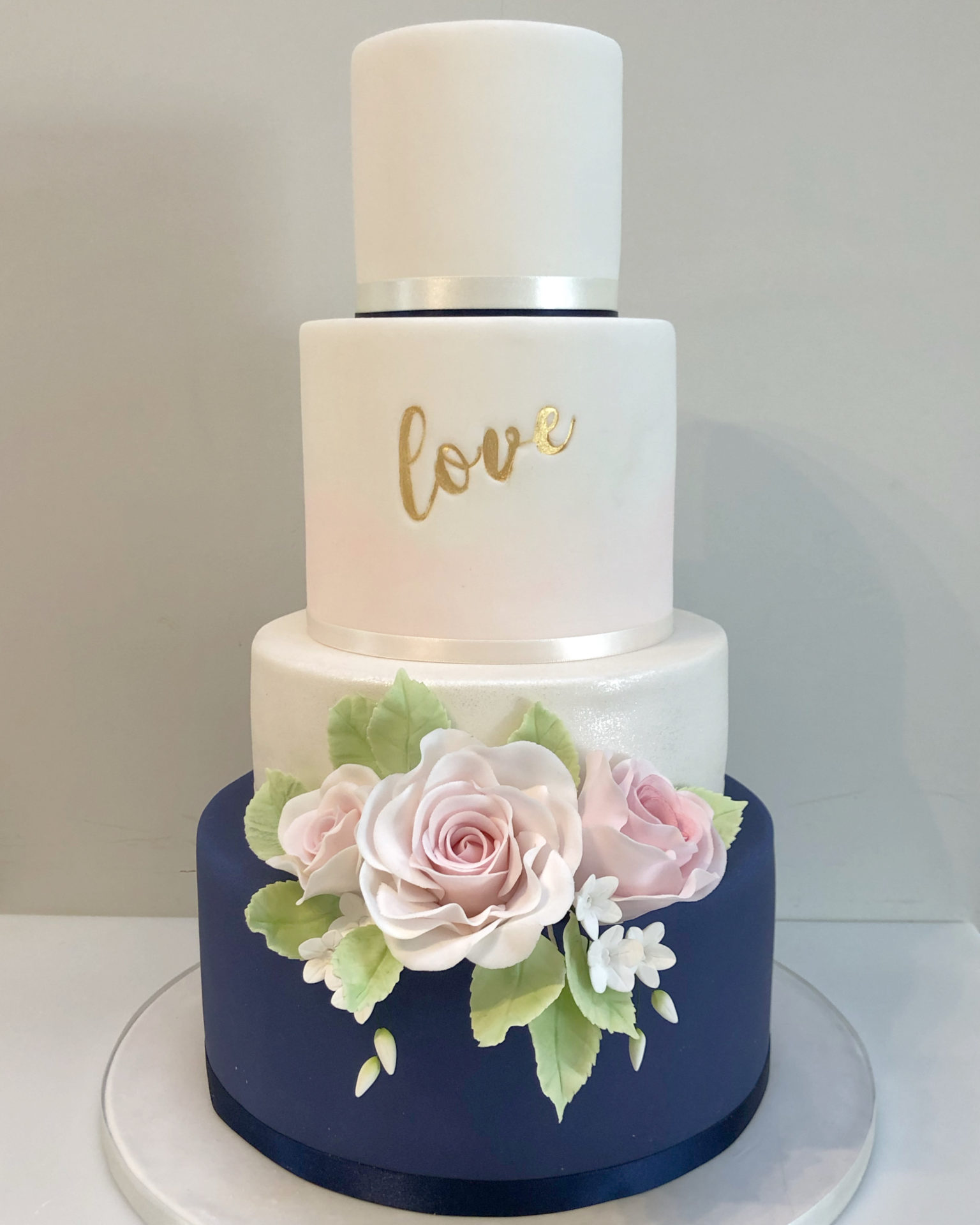 Navy and Blush Pink Rose Wedding Cake