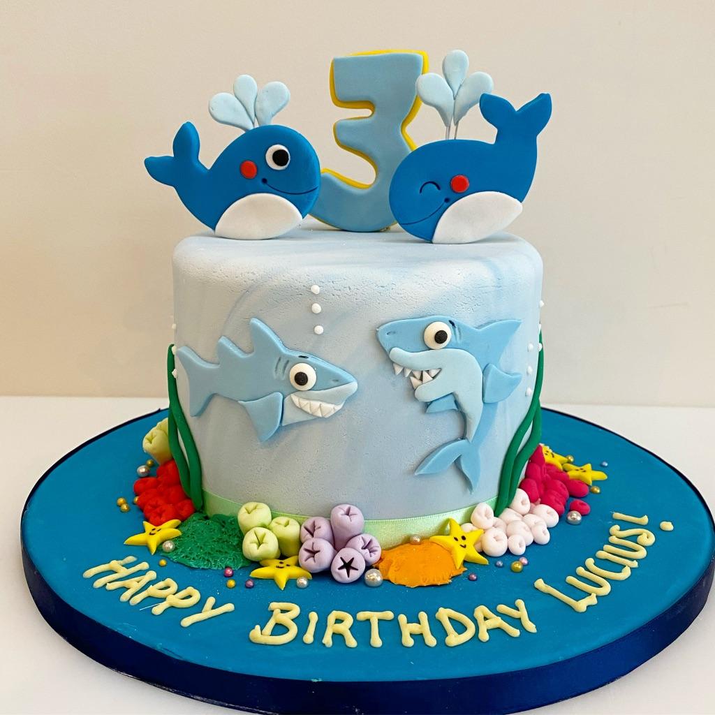 Whale and Shark Birthday Cake