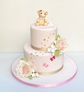 Teddy Bear and Rose Christening Cake