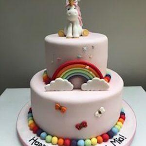 2 Tiered Unicorn Cake with Rainbow
