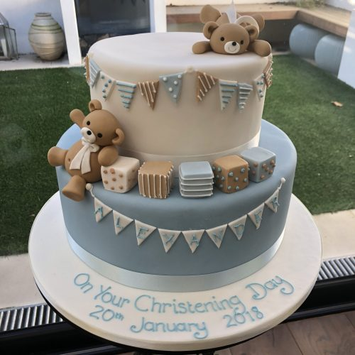 Partying Teddies Christening Cake
