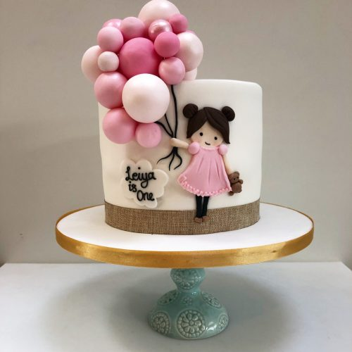 Birthday Cake with Pink Balloons
