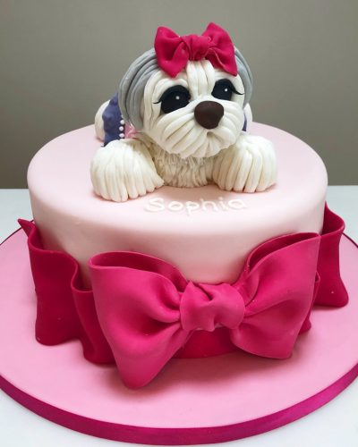 Doggie and Pink Bow Birthday Cake
