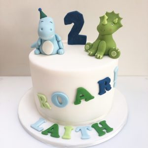 Dinosaur 2nd Birthday Cake