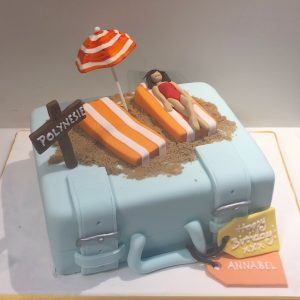 Suitcase and Beach Holiday Birthday Cake