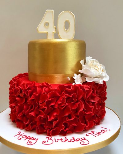 Red Ruffle 40th Birthday Cake