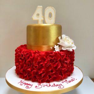 Red Ruffle 40th Birthday Cake