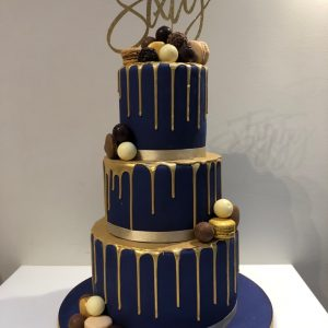 Navy and Gold Drip 60th Birthday Cake