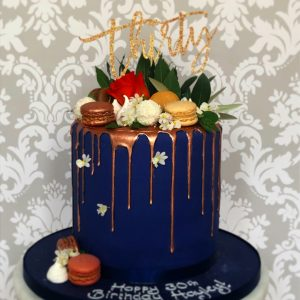 Blue and Rose Gold 30th Drip Cake