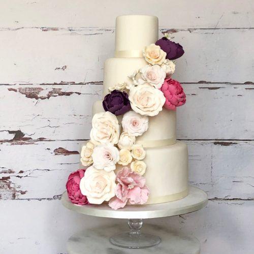 Sugar Flower Swathe Wedding Cake