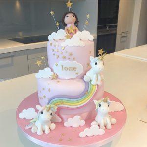 Pale Rainbow Unicorn Cake
