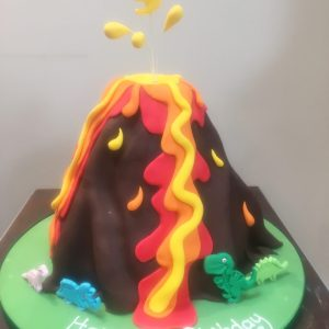 Volcano Cake with Dinosaurs