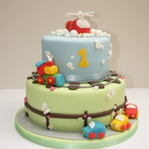 Helicopter , Train and Car Cake