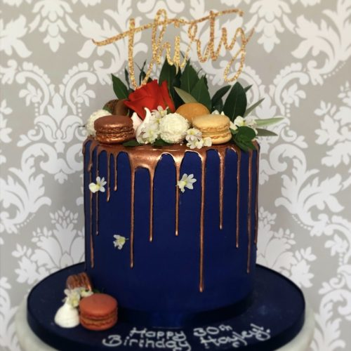 Blue Drip Thirtieth Birthday Cake