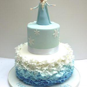 Frozen and Elsa Ruffle Cake
