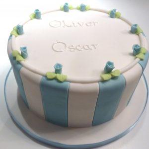 Blue Striped Christening Cake