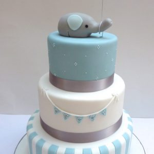 Elephant Stripe Christening Cake