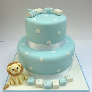 Lion & Train Christening Cake