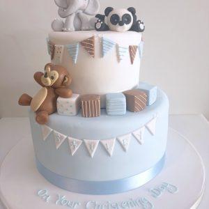 Playful Animal Christening Cake